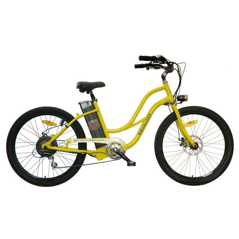 StepThru Stretched Electric Beach Cruiser Bicycle  Equalizer Electric Bicycles